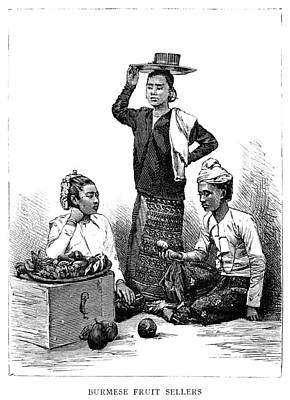 Burmese Python Painting - Burma Fruit Vendors, 1885 by Granger