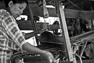 Handloom Photograph - Burmese Woman Working With A Handloom Weaving. by RicardMN Photography