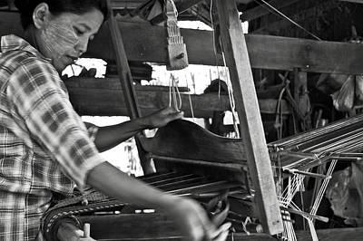 Bamboo House Photograph - Burmese Woman Working With A Handloom Weaving. by RicardMN Photography