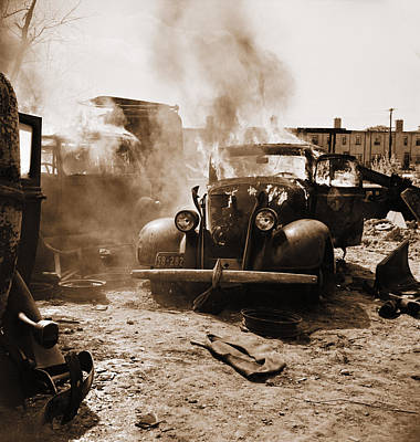 Scrap Metal Yard Photograph - Burning Car Circa 1942  by Aged Pixel
