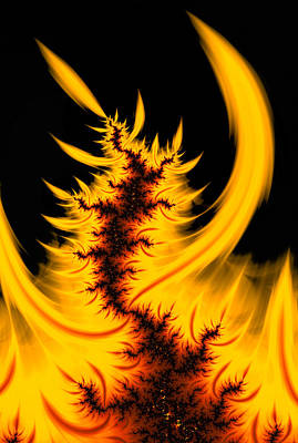 Abstract Digital Art - Burning Fractal Fire Warm Orange Flames Black Background by Matthias Hauser