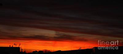 Burning Night Time Sky Print by John Telfer