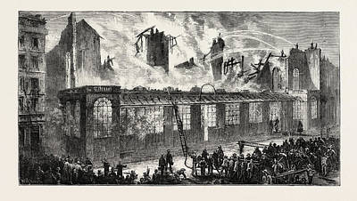 Burning Of The Old Paris Opera House, Viewed From The Rue Print by French School