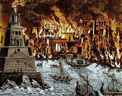 Burning Of The Royal Library Print by Science Source