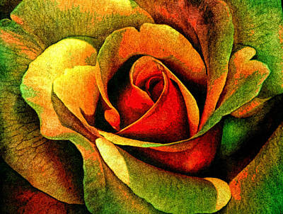 Burning Mixed Media - Burning Rose Of Autumn by Georgiana Romanovna