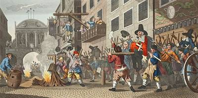 Burning Ye Rumps At Temple-barr Print by William Hogarth