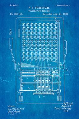 Burroughs Calculating Machine Patent Art 1888 Blueprint Print by Ian Monk