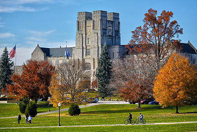 Burruss Hall Print by Mitch Cat