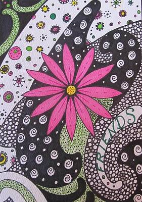 Heart Images Painting - Burst Of Pink Zen Tangle by Sharon Duguay