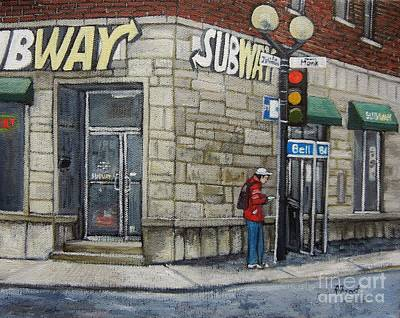Montreal City Scenes Painting - Bus Stop On Monk by Reb Frost