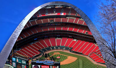 Stadium Scene Digital Art - Busch Stadium A Zoomed View From The Arch Merged Image by Thomas Woolworth