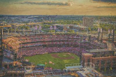 Busch Stadium St. Louis Cardinals Paint 2 Print by David Haskett