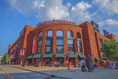 Busch Stadium St. Louis Cardinals Paint Blue Print by David Haskett
