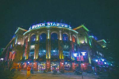 Busch Stadium St. Louis Cardinals Paint Print by David Haskett