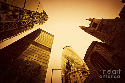 Contemporary Photograph - Business Architecture Skyscrapers In London Uk Golden Tint by Michal Bednarek