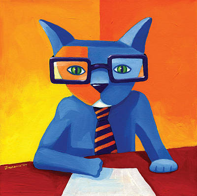 Blue Painting - Business Cat by Mike Lawrence