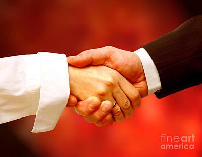 Shake Photograph - Business Handshake by Michal Bednarek