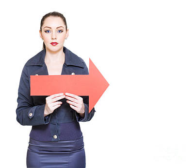 Directional Signage Photograph - Business Woman Holding Direction Arrow Sign by Jorgo Photography - Wall Art Gallery