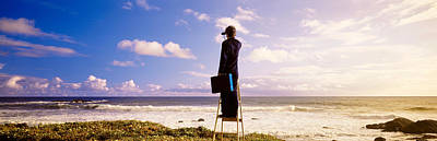 Business-travel Photograph - Businessman Standing On A Ladder And by Panoramic Images