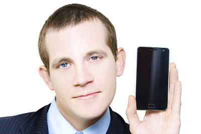 Businessman With Blank Screen Smartphone In Hand Print by Jorgo Photography - Wall Art Gallery
