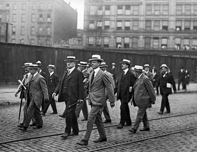 Businessmen Walking In Ny Print by Underwood Archives
