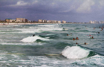 Busy Day In The Surf Print by Deborah Benoit