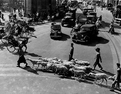 Busy Traffic Shanghai 1949 Print by Retro Images Archive