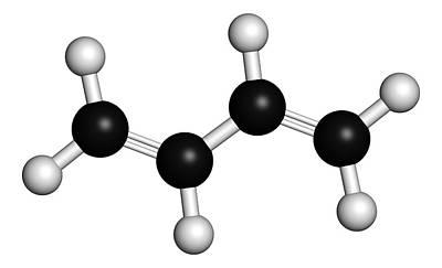 3-dimensional Photograph - Butadiene Synthetic Rubber Molecule by Molekuul
