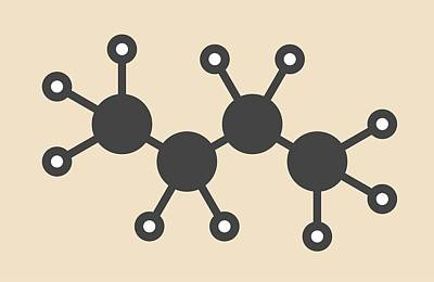 Butane Hydrocarbon Molecule Print by Molekuul