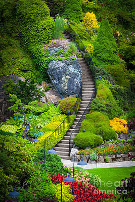 Butchart Gardens Stairs Print by Inge Johnsson