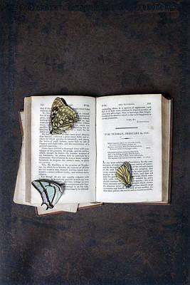 Read Photograph - Butterflies On Book by Joana Kruse