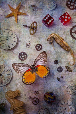 Butterfly And Seahorse Print by Garry Gay