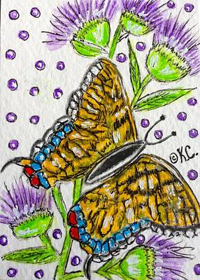 Butterfly And Thistles Print by Kathy Marrs Chandler