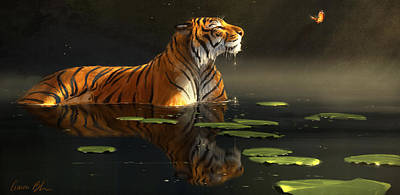 Tigers Print featuring the digital art Butterfly Contemplation by Aaron Blaise