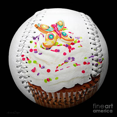 Butterfly Cupcake Baseball Square Print by Andee Design