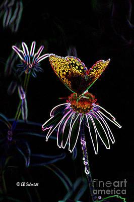 Abstracted Coneflowers Digital Art - Butterfly Garden 03 - Great Spangled Fritillary by E B Schmidt