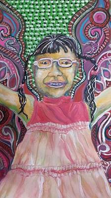 Girl With A Pink Dress Painting - Butterfly Girl by Cherie Sexsmith