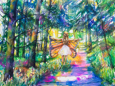 Little Girl Mixed Media - Butterfly Girl by Patricia Allingham Carlson