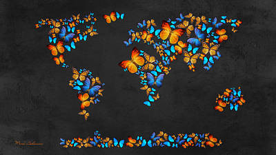 Abstract Map Digital Art - Butterfly Map by Mark Ashkenazi