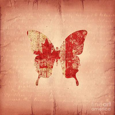 Maple Leaf Digital Art - butterfly Maple and Leaf by Steffi Louis