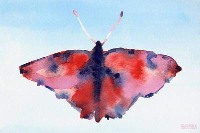 Butterfly Red And Blue Watercolor Painting Print by Beverly Brown Prints