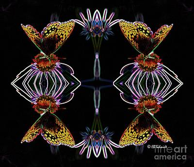Abstracted Coneflowers Digital Art - Butterfly Reflections 10  - Great Spangled Fritillary by E B Schmidt