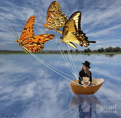Butterfly Sailing Print by Linda Lees