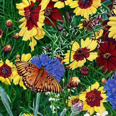 Garden Scene Painting - Butterfly Wildflowers Garden Floral - Square Format Image - Spring Decor - Green Blue Orange-2 by Walt Curlee