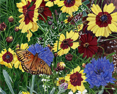 Garden Scene Painting - Butterfly Wildflowers Garden Oil Painting Floral Green Blue Orange-2 by Walt Curlee