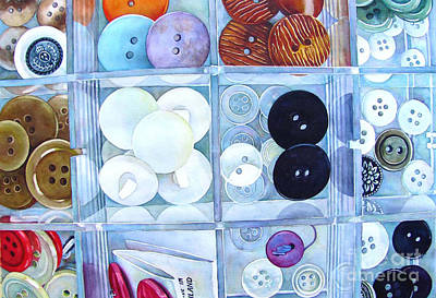 Watercolor Painting - Button Box by Wendy Westlake
