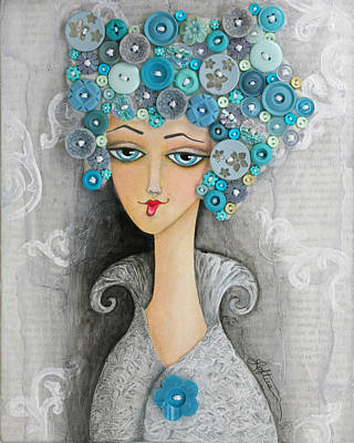 Hairdo Mixed Media - Button Up Your Overcoat by Joann Loftus