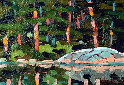 Buzzard Painting - Buzzard Lake Sunset Shore by Phil Chadwick