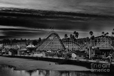 Rollercoaster Photograph - bw 454 - Storm Over The Giant Dipper by Chris Berry