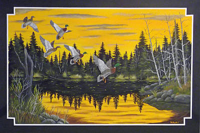 Crossbill Painting - Bwca  by Rudolph Bajak